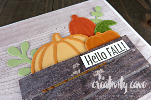 Check out the FaceBook Live Replay and the 4 different cards I created using Stampin Up Products including this adorable card on my blog at www.thecreativitycave.com #stampinup #thecreativitycave #handmadegreetingcards #cardmaking #rubberstamping #woodwordsbundle #woodcrateframelits #pickapumpkin #woodtexturesdsp #fall