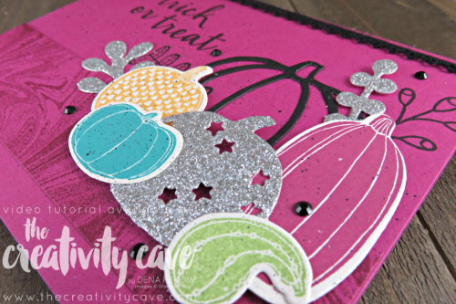 Video Tutorial for this fun and unique Halloween Card using Stampin Up's Creep It Real and Pick A Pumpkin Stamp sets along with my FAV Marbled Background stamp on my blog at www.thecreativitycave.com #stampinup #thecreativitycave #marbledbackground #pickapumpkin #creapitreal #Halloween #handmadegreetingcards #Blackrhinestones #fun