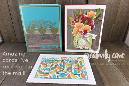 Beautiful Cards that I have received in the mail from my stampin friends!  So pretty!  www.thecreativitycave.com #stampinup #thecreativitycave #handstampedcards #makeacardsendacard #brightensomeone'sday