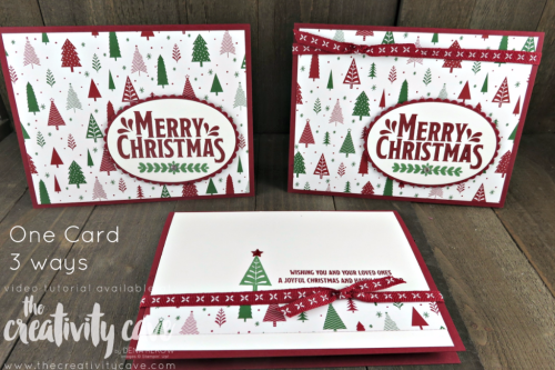 Quick and Easy Christmas Cards on my Facebook Live!  Check out the video and additional cards on my blog at www.thecreativitycave.com #stampinup #thecreativitycave #quickandeasychristmascards #christmas #handmadegreetingcards #cardmaking #merrymistletoe #BemerryDSP