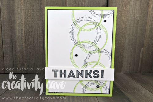 Super Quick and Easy card using Stampin UP's Cheers to the Year and One Big Meaning Stamp Sets from Stampin UP with my fav color combo: Lemon Lime Twist and Black!  Check out the video on my blog at www.thecreativitycave.com #stampinup #thecreativitycave #handmadegreetingcards #quickandeasy #cheerstotheyearstampset #thankyoucard #handmade #rubberstamping