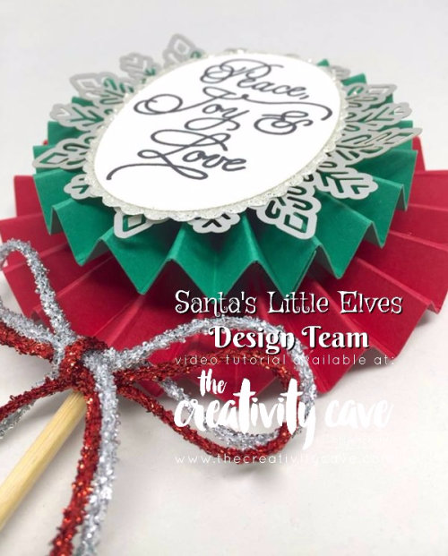Great Treat created with Stampin Up's Peace This Christmas Stamp Set and Simply Scored Board perfect to dress up a Holiday Poinsettia or other floral gift!  Details and more photos with links to buy at www.thecreativitycave.com #stampinup #thecreativitycave #handmadeholidaygifts #floralpick #christmaslolly #handmade