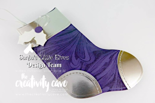 Check out the video tutorial for this GORGEOUS stocking using Stampin Up's Trim Your Stocking Framelits and Marbled Background Stamp for a truly Diamond-worthy gift package! :) www.thecreativitycave.com #stampinup #thecreativitycave #bigshot #christmas #giftcardholder #diamondholder #classy #handmade #rubberstamping #crafts #diy #paper