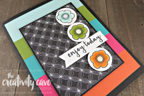 Check out the video tutorial for this bright and happy card which features a fun layout and great use of printed paper using Stampin Up's Pieces and Patterns Stamp set and Pick a Pattern Printed Paper on my blog at www.thecreativitycave.com #stampinup #thecreativitycave #piecesandpatterns #pickapattern #printedpaper #cardmaking #handmadegreetingcards #scrapbookpaper #triplebannerpunch #paper #create #brightandhappy