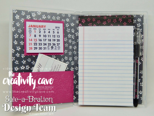 Sale-a-bration Design Team Lots of Lavendar Notepad Holder: Download the Complete Project Sheet with Directions on my blog at www.thecreativitycave.com #stampinup #thecreativitycave #notepadholder #tutorial #lotsoflavender #largeletterframelits