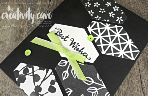 Catch the video tutorial for this and other Black and White cards with a pop of color featuring Stampin Up's Petal Palette Stamp set and Petal Passion DSP on my blog at www.thecreativitycave.com #stampinup #thecrativitycave #petalpalette #Lemonlimetwist #cardmaking #tailoredlabelpunch #create