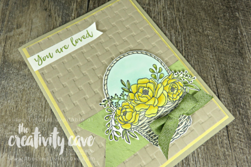Check out the video tutorial for this gorgeous card created with Stampin Up's Blossoming Basket Stamp Set and Basket Weave Embossing Folder for this week's Card Maker's Choice Challenge at the Stamp Ink Paper Challenge on my blog at www.thecreativitycave.com #stampinup #thecreativitycave #blossomingbasketbundle #sab #stamping #crafting #handmadegreetingcards #stampinblends #coloring