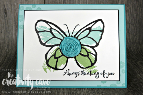 Check out my cool use of ribbon on this gorgeous and simple card using Stampin Up's Beautiful Day Stamp Set paired with A Work of Art on my blog at www.thecreativitycave.com #stampinup #ribbon #sipchallenge #thecreativitycave #beautifulday #birthdaycard #create #handmade