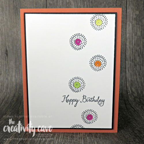 Check out the projects with video from my FaceBook Live Session including this and several other cards using Stampin Up Products on my blog at www.thecreativitycave.com #stampinup #thecreativitycave #create #handmadegreetingcarsd #rubberstamping #videotutorial #ballooncelebrations #quickandeasy #tuttifruittyadhesivebackedsequins