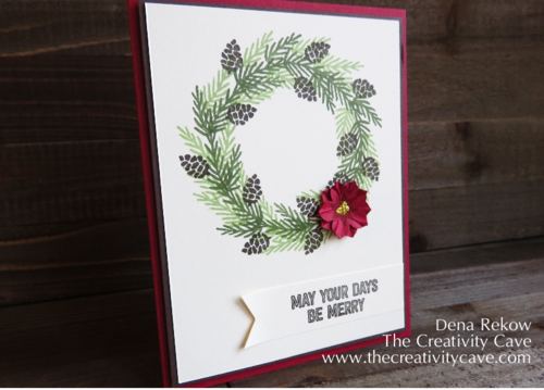 Wreath Card from Friday Quickie Video Tutorial using Stampin Up's Berry Merry Stamp Set