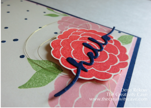 Beautiful card using Stampin Up's Bountiful Borders and Greetings Thinlits
