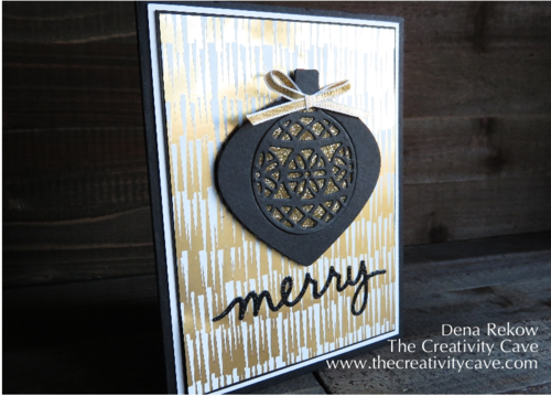 Add some glitter with the Packing Tape Technique using Stampin Up's Delicate Ornaments Stamps and Framelits along with some glitter.  Check out awesome video tutorial on my blog along with more samples!