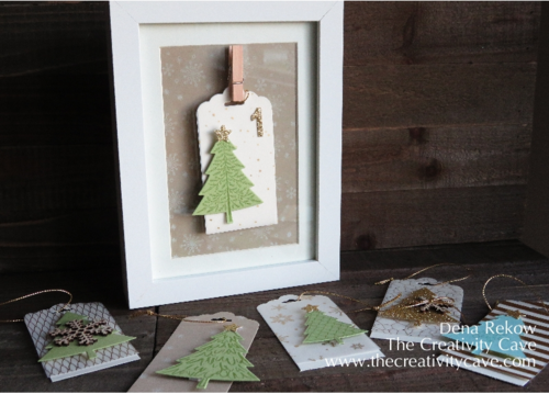 Advent Calendar Kit available from Dena Rekow, The Creativity Cave includes all the items needed to make A Framed Advent Calendar plus additional materials for gift tags, and even Christmas Cards!