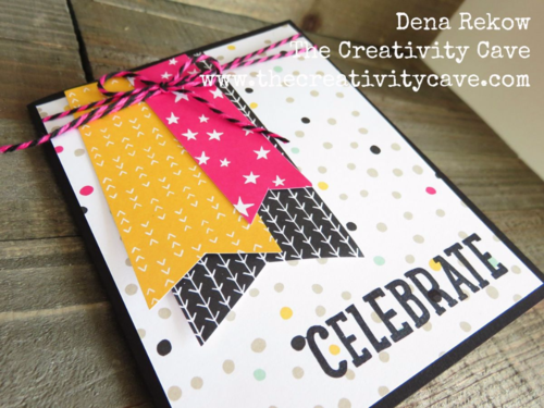 Party with Cake and Party Pop Up Thinlits from Stampin Up combine with some printed paper and washi tape to make this adorable pop-up card!