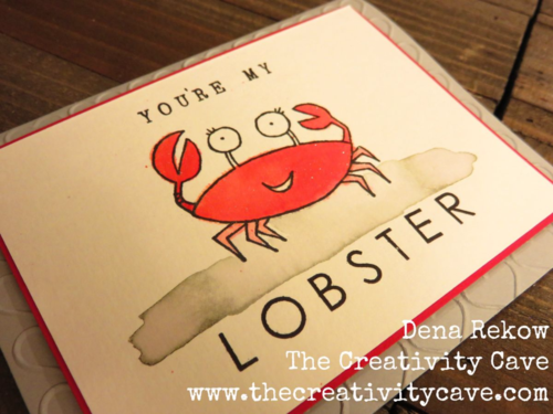 Adorable You're My Lobster Card created using Stampin Up's You're Sublime Stamp Set and watercoloring.  How-to Video on my blog!