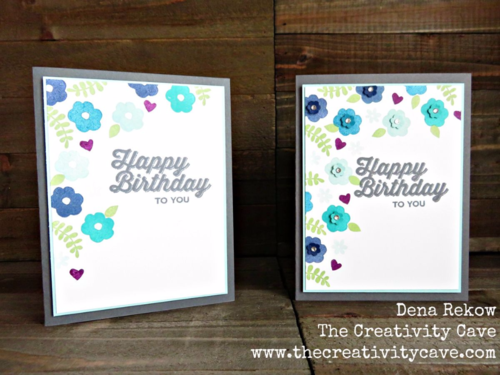 Gorgeous in shades of blue card using Stampin Up's Endless Thanks and Perfect Pairings Saleabration Sets. Stepped up with some flower punches and a little bling! Which one do you like best?