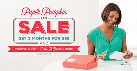 Paper Pumpkin is on Sale!!  When you buy a 3 month subscription, you'll qualify for a FREE sale-a-bration set and if you subscribe through The Creativity Cave by Dena Rekow, you'll get monthly idea sheets on alternative ideas for your kit!