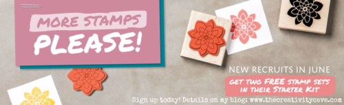 Join my Stampin Up Family by becoming a Demonstrator in June a The Creativity Cave for 2 FREE sets of any value from the New Catalog!