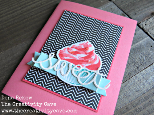 Video tutorial on my blog www.thecreativitycave.com for how to make this adorable cupcake card using Stampin Up's Sweet Cupcake Stamp Set and framelits. #handmade #thecreativitycave #stampinup