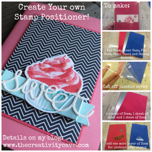 Video tutorial on how to create your own Stamp Positioner for just $10!! Plus how to make this adorable cupcake card using Stampin Up's Sweet Cupcake Bundle #stampinup #thecreativitycave #handmade #create www.thecreativitycave.com