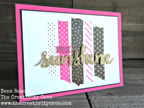 Great Video to make this adorable Wedding Card using Stampin Up Sunshine Sayings Bundle and Pop of Pink Washi Tape on my blog, www.thecreativitycave.com #stampinup #washi #thecreativitycave