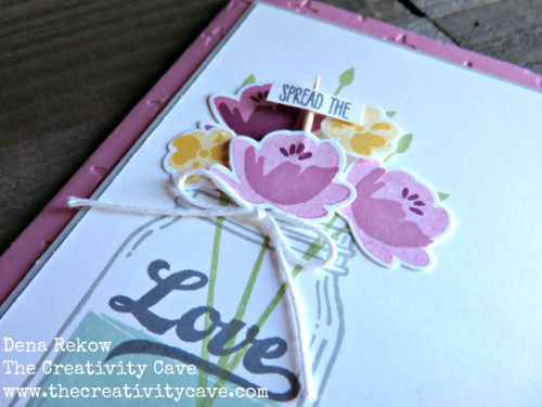 Great Video tutorial on how to make this gorgeous card using Stampin Up's Jar of Love Stamp set and coordinating Framelits on my blog, www.thecreativitycave.com #stampinup #thecreativitycave #handmade #jaroflove #sparkleembossingfolder #balljars