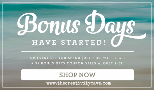 Shop my online store for your $5 off Coupons redeemable in August, plus you'll become a VIP Rewards Member! #stampinup #thecreativitycave #thoughtfulbranches #bonusbuys