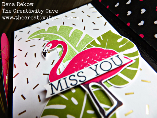 Fun Video on my blog showing how easy this card is to create with a fun fold and Stampin Up's Summer Sorbet and Layered Letters Stamp Sets: www.thecreativitycave.com #stampinup #zfold #thecreativitycave #popofparadise #popofpink #surpriseinside #handmade
