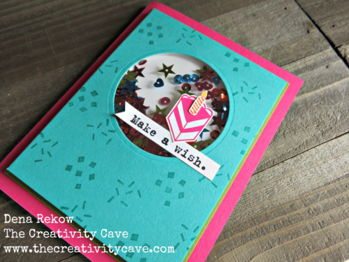 Check out the fun video for this adorable shaker card using Stampin Up's Party With Cake Stamp set on my blog: www.thecreativitycave.com #stampinup #thecreativitycave #wwyschallenge #handmade #birthday