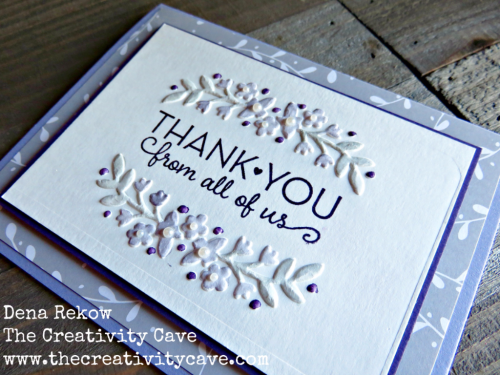 Video tutorial to highlight watercoloring with embossing folders on this beautiful card using Stampin Up's Love and Affection Embossing Folder and an alternative version on my blog, www.thecreativitycave.com #stampinup #thecreativitycave #handmade #embossing #bigshot #thankyou #watercolor
