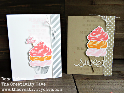 Awesome video on how to create both of these amazing cards on my blog, www.thecreativitycave.com! #stampinup #thecreativitycave #sweetcupcake