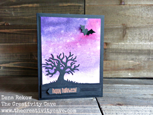 Great video on my blog for making this adorable Halloween Card using Stampin Ups Spooky Fun Stamp Set and Halloween Scenes Edgelits at www.thecreativitycave.com #stampinup #halloween #spookyfun #thecreativitycave