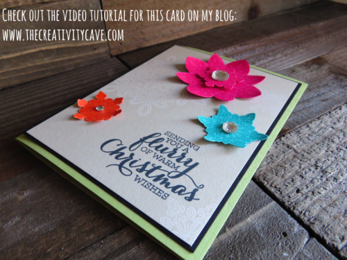 Check out my video tutorial for this fun, happy and EASY card using Stampin Up's Flurry Of Wishes Stamp Set and coordinating Snow Flurry Punch on my blog: www.thecreativitycave.com #stampinup #flurryofwishes #thecreativitycave