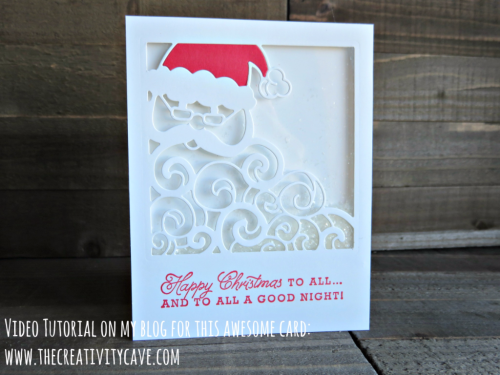 Check out the Video Tutorial on my blog filled with fantastic tips on creating this ADORABLE Santa Shaker Card using Stampin Up's Greetings from Santa bundle at www.thecreativitycave.com #stampinup #thecreativitycave #greetingsfromsanta #shakercard