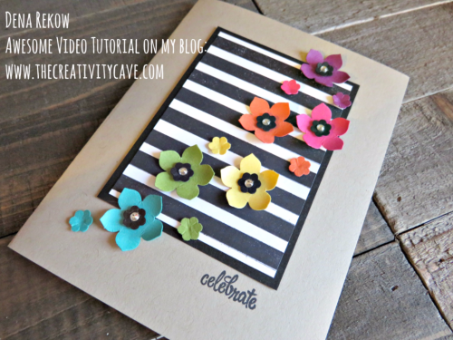 """Check out the hilariously entertaining video for this GORGEOUS Happy """"Celebrate"""" card using Stampin Up's Thoughtful Banners Stamp set and Petite Petal and Tree Builder Punches! #stampinup #thecreativitycave #thoughtfulbanners"""