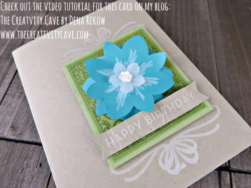 Check out the video tutorial for this adorable card using Stampin Up's Big on Birthday's Stamp set (and you won't believe what is underthat flower) on my blog: www.thecreativitycave.com #stampinup #thecreativitycave #bigonbirthdays #birthday #atleastyourestillpretty