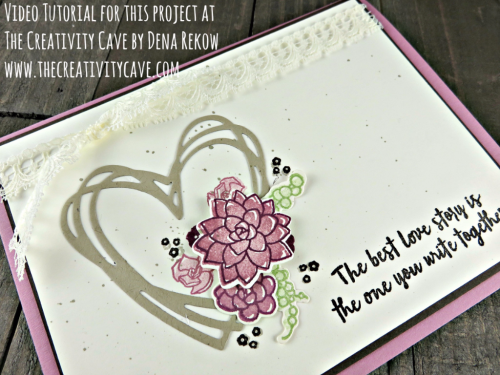 Check out the video tutorial for this gorgeous card featuring Stampin Up's Oh So Succulent Stamp set and coordinating framelits on my blog at www.thecreativitycave.com #stampinup #thecreativitycave #ohsosucculent