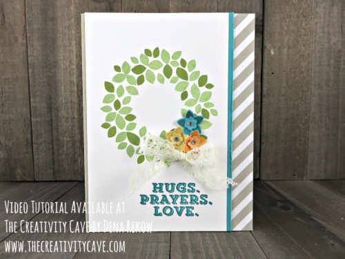 Check out the video tutorial for this card with some great tips and tricks using Stampin Up's Sending Thoughts and Wonderous Wreath Stamp set and coordinating Framelits on my blog at www.thecreativitycave.com #stampinup #thecreativitycave #wonderouswreath #SendingThoughts