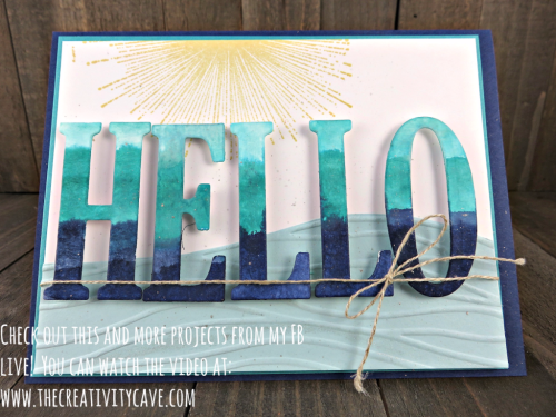 Check out my FB Live video where I create this beautiful card using Stampin Up's Large Letters framelits plus 3 more projects on my blog at www.thecreativitycave.com #stampinup #thecreativitycave #fblive #Largeletterframelits