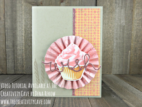 Check out the video tutorial with lots of tips and tricks for making this gorgeous birthday card using Stampin Up's Sweet Cupcake Bundle and my simply scored board at www.thecreativitycave.com #stampinup #thecreativitycave #sipchallengeblog #cupcakesandcarousels #sweetcupcake