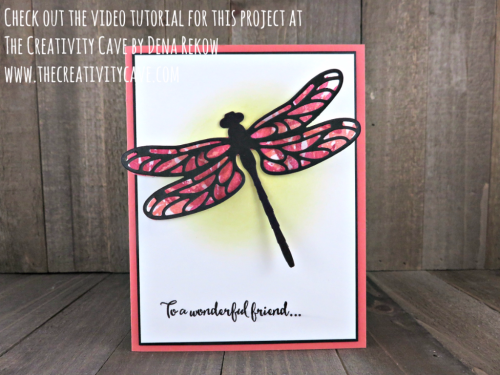 Check out the cool technique on this card complete with video tutorial on my blog: www.thecreativitycave.com using Stampin Up's Dragonfly Dreams Stamp set and framelits  #stampinup #thecreativitycave #dragonflydreams #bigshot #create