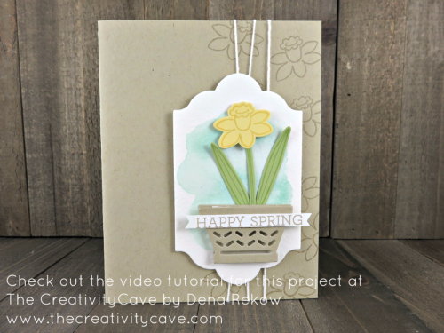 Check out the video tutorial which includes this and several more cards perfect for spring using Stampin Up's Basket Bunch Stamp Set and coordinating Basket Builder Framelits on my blog: www.thecreativitycave.com #stampinup #basketbunch #spring #easter #Watecolor