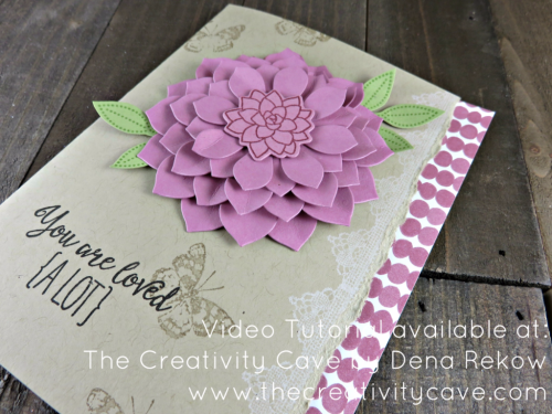 Check out the Video Tutorial on my blog where I teach you how easy it is to create this beautiful card using Stampin Up's Oh So Succulent and Grateful Bunch Stamp Sets at www.thecreatvitycave.com #stampinup #thecreativitycave #ohsosucculent #gratefulbunch