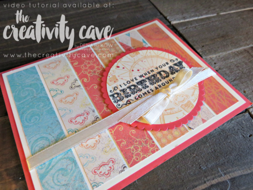 Join me as I teach you how to make this adorable card in my video on my blog: www.thecreativitycave.com using Stampin Up's Carousel Birthday and Cupcakes and Carousels DSP Stack!  Super fun and a great way to use scraps of DSP!! #stampinup #thecreativitycave #carouselbirthday #cupcakesandcarousels