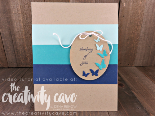 Check out the video tutorial on this simple card using Stampin Up's That's the Tag and Timeless Tag thinlits at www.thecreativitycave.com #stampinup #thatsthetag #thecreativitycave