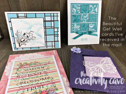 Check out the many beautiful cards I've received during my surgery and recovery--SO BLESSED--I wanted to share them with you! Check out the rest on my blog at www.thecreativitycave.com #stampinup #thankyou #getwell