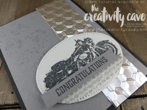 My video tutorial teaches you how easy it is to create this awesome (and easy) Masculine Card using Stampin Up's One Wild Ride Stamp set and Hexagon Dynamic Embossing Folder at www.thecreativitycave.com #stampinup #masculinecard #motorcycle #onewildride