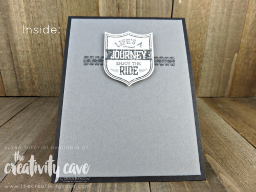 The inside--My video tutorial teaches you how easy it is to create this awesome (and easy) Masculine Card using Stampin Up's One Wild Ride Stamp set and Hexagon Dynamic Embossing Folder at www.thecreativitycave.com #stampinup #masculinecard #motorcycle #onewildride