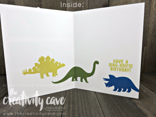 Check out the inside of this sweet kid card--Join me as teach you how easy this card is to create using Stampin Up's No Bones About It Stamp Set on my blog: www.thecreativitycave.com #thecreativitycave #stampinup #nobonesaboutit #kidscards