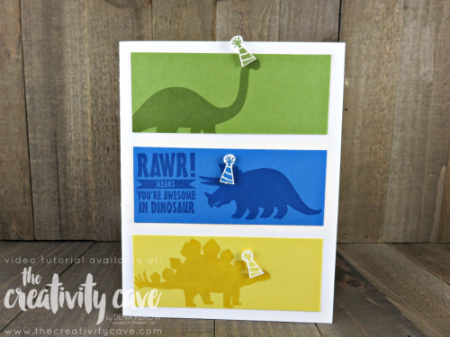 Join me as teach you how easy this card is to create using Stampin Up's No Bones About It Stamp Set on my blog: www.thecreativitycave.com #thecreativitycave #stampinup #nobonesaboutit #kidscards